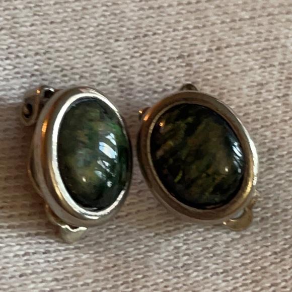 Vintage black opal sterling clip earrings